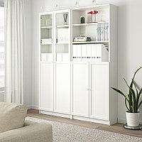 БИЛЛИ / ОКСБЕРГ Стеллаж/панельные/стеклянные двери, белый, 160x30x202 см, фото 1