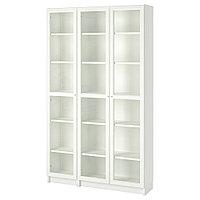 БИЛЛИ / ОКСБЕРГ Шкаф книжный со стеклянными дверьми, белый, 120x30x202 см, фото 1