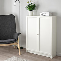 БИЛЛИ / ОКСБЕРГ Стеллаж с дверьми, белый, 80x30x106 см, фото 1