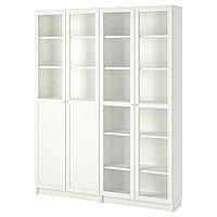 БИЛЛИ / ОКСБЕРГ Стеллаж/панельные/стеклянные двери, белый, стекло, 160x30x202 см, фото 1