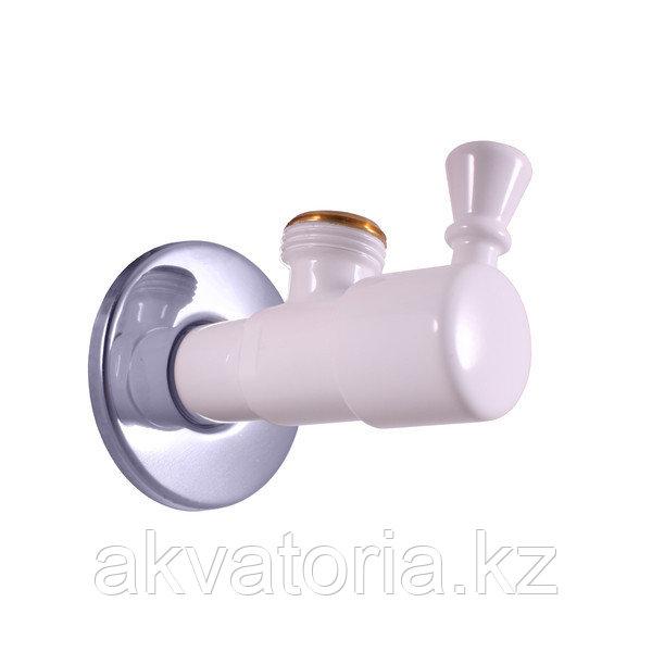 ROH001BC  Угловой вентиль 1/2 * 1/2 белый - хром