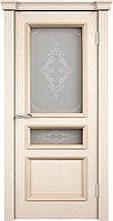 Комплект двери ДвериХолл Граф багет тиснение витраж №1 600x2000