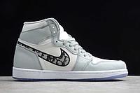 """Кожаные кроссовки Dior x Air Jordan 1 High OG AJ1 """"Grey/White-Black"""" (36-46), фото 2"""