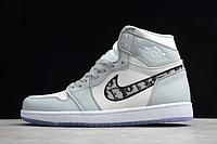 """Кожаные кроссовки Dior x Air Jordan 1 High OG AJ1 """"Grey/White-Black"""" (36-46)"""