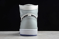 """Кожаные кроссовки Dior x Air Jordan 1 High OG AJ1 """"Grey/White-Black"""" (36-46), фото 7"""