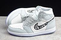"""Кожаные кроссовки Dior x Air Jordan 1 High OG AJ1 """"Grey/White-Black"""" (36-46), фото 6"""