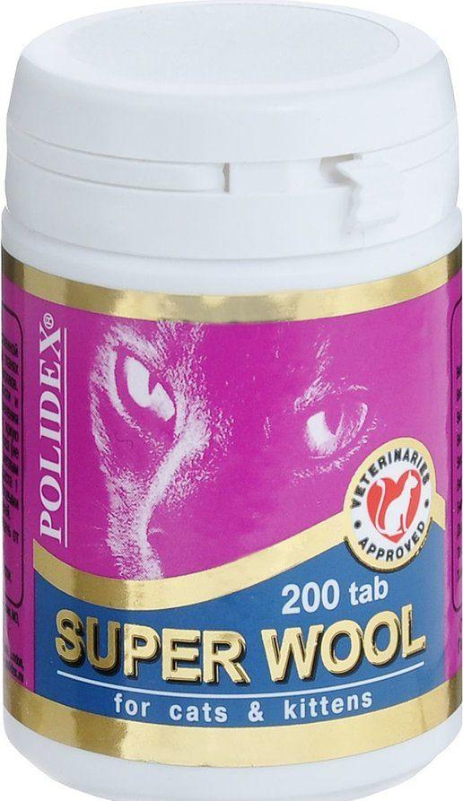 Polidex Super Wool, улучшающий состояние шерсти, кожного покрова, когтей кошек и котят - 200 табл.