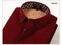 Утепленная рубашка с начесом темно-бордовая
