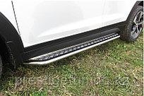 Защита порогов d42 с листом усиленная Hyundai Tucson 4WD 2015-18