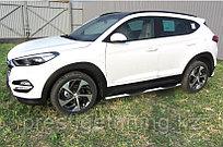 Защита порогов d76 с проступями Hyundai Tucson 4WD 2015-18