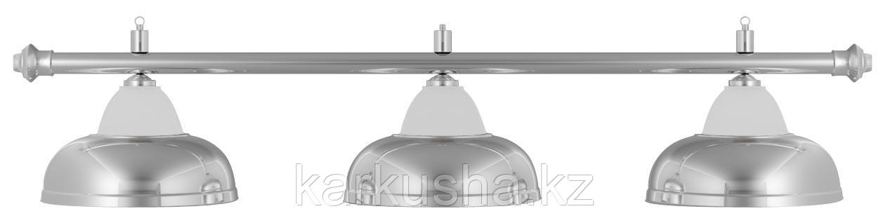 Лампа на три плафона «Crown» (серебристая штанга, серебристый плафон D38см)