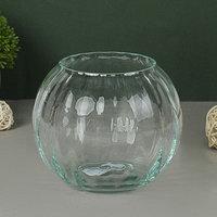 Ваза 'Шар' риф. (диам.горл-8,5см) 13,5х11см из прозрачного стекла (без декора)