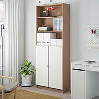 БИЛЛИ / МОРЛИДЕН Шкаф книжный со стеклянными дверьми, дубовый шпон, беленый, стекло, 80x30x202 см, фото 1