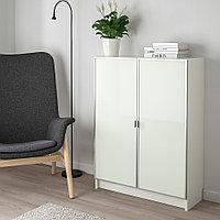 БИЛЛИ / МОРЛИДЕН Шкаф книжный со стеклянными дверьми, белый, стекло, 80x30x106 см, фото 1