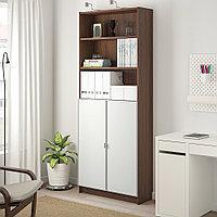 БИЛЛИ / МОРЛИДЕН Шкаф книжный со стеклянными дверьми, коричневый ясеневый шпон, стекло, 80x30x202 см, фото 1
