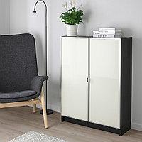 БИЛЛИ / МОРЛИДЕН Шкаф книжный со стеклянными дверьми, черно-коричневый, стекло, 80x30x106 см, фото 1
