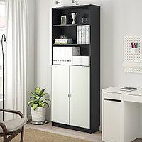 БИЛЛИ / МОРЛИДЕН Шкаф книжный со стеклянными дверьми, черно-коричневый, стекло, 80x30x202 см, фото 1