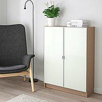 БИЛЛИ / МОРЛИДЕН Шкаф книжный со стеклянными дверьми, дубовый шпон, беленый, стекло, 80x30x106 см, фото 1