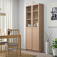 БИЛЛИ Стеллаж/панельные/стеклянные двери, дубовый шпон, беленый, 80x30x202 см, фото 1