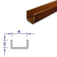 Латунный П-образный профиль, 2*4 мм.