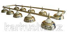 Лампа на десять плафонов «Crown» (серебряная штанга, золотистый плафон D38см)
