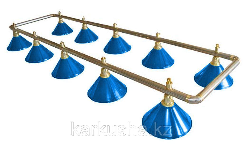 Лампа на десять плафонов «Blue Light» (серебристо-золотистая штанга, синий плафон D35см)