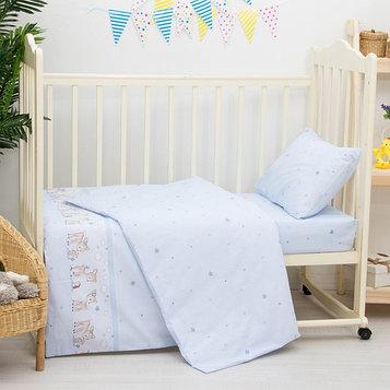 Детское постельное бельё «Оленята», размер 100×140 см, 110×140 см, 40×60 см, цвет голубой