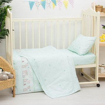 Детское постельное бельё «Оленята», размер 100×140 см, 110×140 см, 40×60 см, цвет салатовый