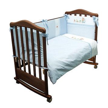 Детское постельное бельё «Паровозик» , размер 100×140 см, 110×140 см, 40×60 см, цвет голубой