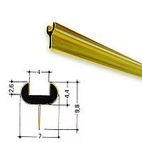 Латунированный  Y-образный профиль, золото, для стекла 4мм.
