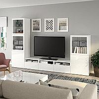 БЕСТО Шкаф для ТВ, комбин/стеклян дверцы, белый, Сельсвикен глянцевый/белый прозрачное стекло, 300x42x193 см, фото 1