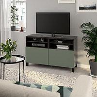 БЕСТО Тумба под ТВ, с дверцами, черно-коричневый, нотвикен/стуббарп серо-зеленый, 120x42x74 см, фото 1