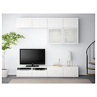 БЕСТО Шкаф для ТВ, комбин/стеклян дверцы, белый, Сельсвикен глянцевый/белый матовое стекло, 240x40x230 см, фото 1