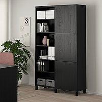 БЕСТО Комбинация для хранения с дверцами, черно-коричневый, Лаппвик/стуббарп черно-коричневый, 120x42x202 см, фото 1