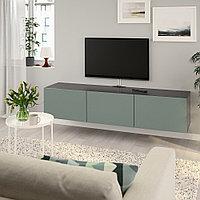 БЕСТО Тумба под ТВ, с дверцами, черно-коричневый, Нотвикен серо-зеленый, 180x42x38 см, фото 1