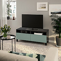 БЕСТО Тумба д/ТВ с ящиками, черно-коричневый, нотвикен/стуббарп серо-зеленый, 120x42x48 см