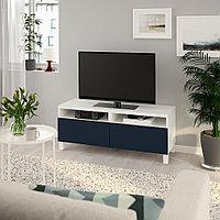 БЕСТО Тумба д/ТВ с ящиками, белый, нотвикен/стуббарп синий, 120x42x48 см, фото 1