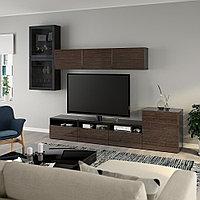 БЕСТО Шкаф для ТВ, комбин/стеклян дверцы, черно-коричневый, дымчат стекло, 300x20/40x211 см