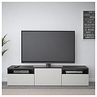 БЕСТО Тумба под ТВ, черно-коричневый, Лаппвикен светло-серый, 180x42x39 см