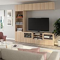 БЕСТО Шкаф для ТВ, комбин/стеклян дверцы, Лаппвикен, Синдвик под беленый дуб, прозрачное стелко, 240x40x230 см