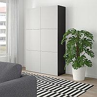 БЕСТО Комбинация для хранения с дверцами, черно-коричневый, Лаппвикен светло-серый, 120x40x192 см, фото 1