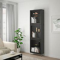 БЕСТО Комбинация д/хранения+стекл дверц, черно-коричневый, прозрачное стекло, 60x22x202 см, фото 1