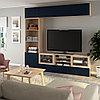 БЕСТО Шкаф для ТВ, комбин/стеклян дверцы, под беленый дуб, Нотвикен синий прозрачное стекло, 240x42x230 см