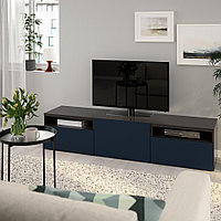 БЕСТО Тумба под ТВ, черно-коричневый, Нотвикен синий, 180x42x39 см