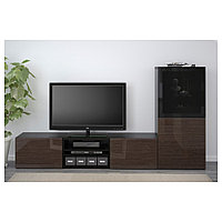 БЕСТО Шкаф для ТВ, комбин/стеклян дверцы, черно-коричневый,  240x40x128 см