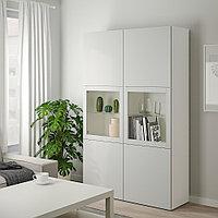БЕСТО Комбинация д/хранения+стекл дверц, белый, Лаппвикен светло-серый прозрачное стекло, 120x40x192 см, фото 1