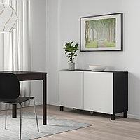 БЕСТО Комбинация для хранения с дверцами, черно-коричневый, Лаппвикен светло-серый, 120x40x74 см, фото 1