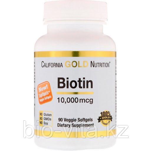 California Gold Nutrition, Биотин, 10 000 мкг, 90 капсул.