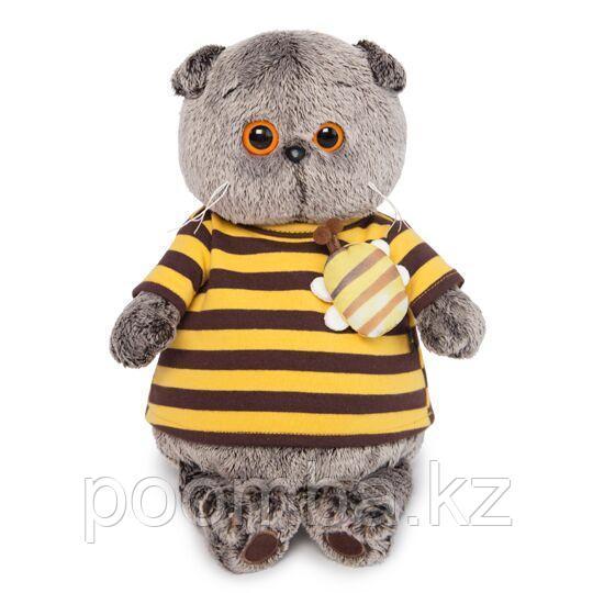 Кот Басик в полосатой футболке с пчелой  19 см