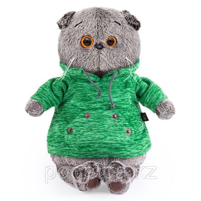 Басик в зеленой толстовке с карманом-кенгуру 19 см